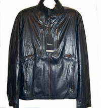 Zegna Sport Men's Navy Dark Blue Water Repellent Soft Leather Jacket Siz... - $1,531.03