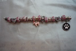 I Love My Dog Dangle Charm & Bead on Pink Authentic Serjaden Charm Bracelet - £10.54 GBP