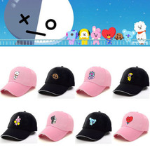 Kpop BTS BT21 Bangtan Cartoon Boys Q Back Pink Black Baseball Hat Peaked... - $5.69