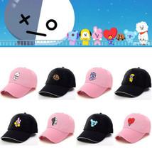 Kpop BTS BT21 Bangtan Cartoon Boys Q Back Pink Black Baseball Hat Peaked... - $5.69