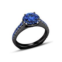 Round Cut Blue Sapphire 14k Black Rhodium Plated 925 Silver Women's Wedding Ring - $79.10