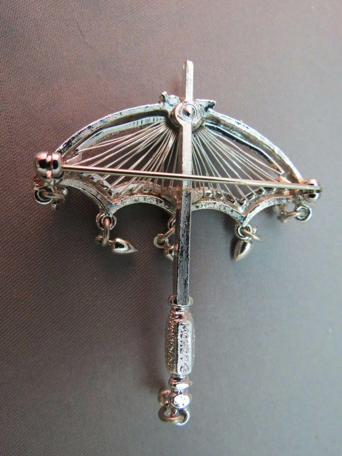Vintage Monet Umbrella Brooch Rain Drop Dangles Brooch Rare Silver Finish NICE