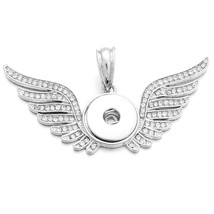 New Snap Jewelry Crystal Angel Wings Necklace Pendants Snap Button Neckl... - $7.93