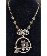 Owl necklace, bronze necklace, statement necklace (928) - $16.00