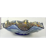 Exceptional ( 1900 approx. )Antique Fenton Blue Carnival Glass Peacock &... - $70.00