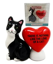 Atlantic Collectibles Valentine Cat With Heart Salt & Pepper Shakers The... - $14.84