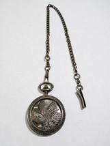 Folio American Eagle Design Pocket Watch w/ Chain Battery Operated Bronz... - $25.08