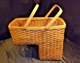 Double Handled Swing Basket Handmade AA18-1294 Vintage image 2