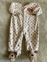 Carters Boys Brown Puppy Dog I Woof You Fleece Long Sleeve Pajamas 9 Months - $5.00