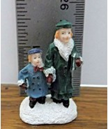 Christmas Village Accessory Lady & Child with Books VGood Condition Resin - $6.92