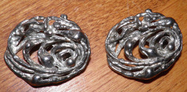 Pair Beautiful, 1920's Art Nouveau Artisan Freeform Clip on Earrings Buy... - $45.46