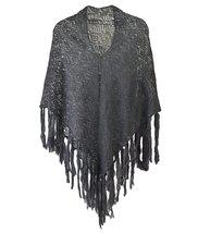Modadorn Soft Crochet Solid Color W/fringe Shawl Scarf (Charcoal) - $12.86