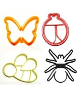 Insects Bugs Ladybug Bee Butterfly Spider Set Of 4 Cookie Cutters USA PR... - $8.99