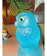 Vintage Russ Vogelsong Summit Art Glass Teal Blue Owl Paperweight Figurine - $32.66
