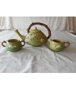 Roseville Green APPLE BLOSSOM Teapot Creamer & Sugar 371 Set HTF c 1948 - $315.00
