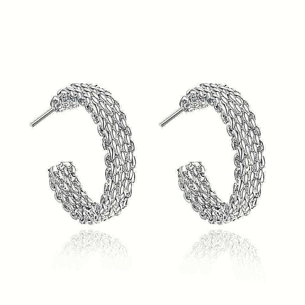 Primary image for Chain Mesh Loop Earrings 925 Sterling Silver NEW