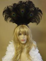 Choose color-Large Peacock & Ostrich Feather Headdress Headband Hair Acc... - $42.99