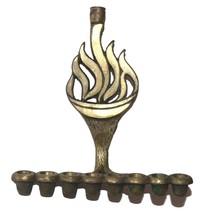Judaica Small Candle Menorah Hanukkah Vintage Israel Brass Hen Holon Flame image 1
