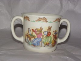 Bunnykins Childs Cup Mug 2 Handle 1936 Royal Doulton Trying on Clothes M... - $6.93