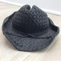 Girls Black STRAW COWGIRL HAT COWGIRL COSTUME WESTERN VINTAGE - $19.80