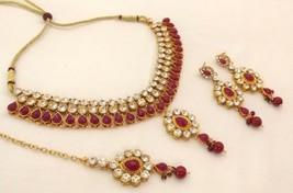 New Indian Gold Plated Rhinestone Purple Fashion Bridal Wedding Jewellery Set - $18.87