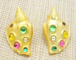 Parklane Park Lane Jj Sea Shell Conch Cabochon Post Earrings Vintage - $39.59