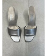 SALVATORE FERRAGAMO Women's MONICA Silver Leather Sandals Slides 8.5 (Ru... - $222.75