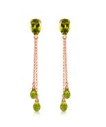 7.5 CTW 14K Solid Rose Gold Chain Drop Earrings Peridot - $236.30