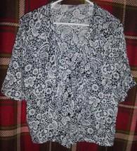 BILA Black White Floral Button Front Shirt Top Blouse w/Ruffles LARGE Women - $13.85