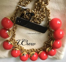 NWT Authentic J Crew Beaded gold necklace vibrant flame & J Crew Dust Bag - $33.99