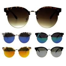 Womens Mod Round Half Rim Hipster Designer Sunglasses - $17.34 CAD