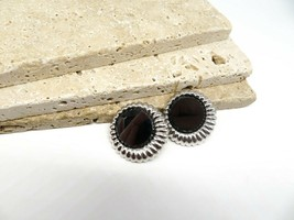 Vintage Sarah Coventry Hematite Silver Tone Modernist Clip On Earrings YY45 - $14.44