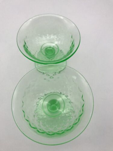 "4 VTG Green Imperial Glass Vaseline DIAMOND QUILTED SHERBET 3-1/4"" Tall (17-620)"