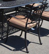 Patio dining set 7pc Elisabeth outdoor cast aluminum oval table Desert Bronze image 4