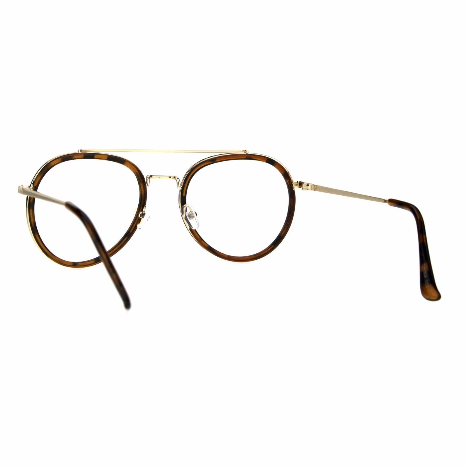 Vintage Fashion Clear Lens Glasses Double Frame Aviator Eyeglasses UV 400