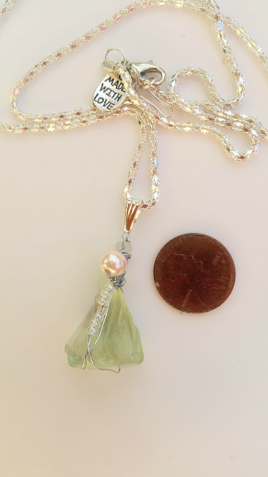 Oceanic Angel necklace: Pale blue Estonian sea glass,beads and silver wire wrap