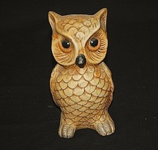 Old Vintage Bisque Big Eyed Owl Bird Figurine Curio Cabinet Shelf Decor - $16.82