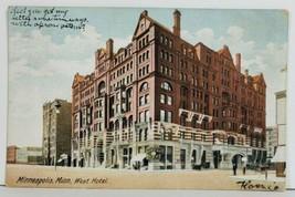 West Hotel Minneapolis MN 1907 to Trout Creek Montana Postcard P1 - $9.95