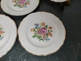 Edwin M Knowles China Semi Vitreous USA Floral Gilted Tea Saucers - Set ... - $38.60