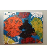 Austrian pop art mixed oil painting on canvas framed abstract bauhaus mo... - $90.00