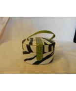 Small Jewelry Box with Handle, Zebra Stripes, Green Strap, Mirror and st... - $33.41