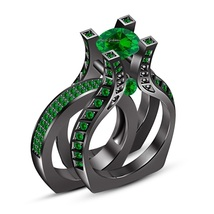 Sterling Silver Black Gold Plated Round Cut Green Sapphire Engagement Wrap Ring - $102.33
