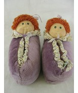 1984 Cabbage Patch Kids House Shoes Size 7-8 Plush Slippers Doll Head  - $34.64