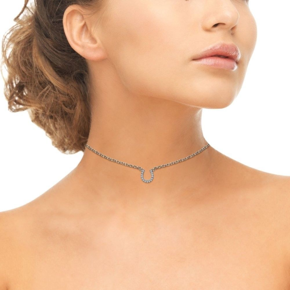 Sterling Silver Cubic Zirconia Horseshoe Lucky Charm Dainty Choker Necklace