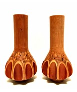 Rare Handcrafted Bamboo Vases or Candle Holders Unique Home Decor 8 inch... - $47.52