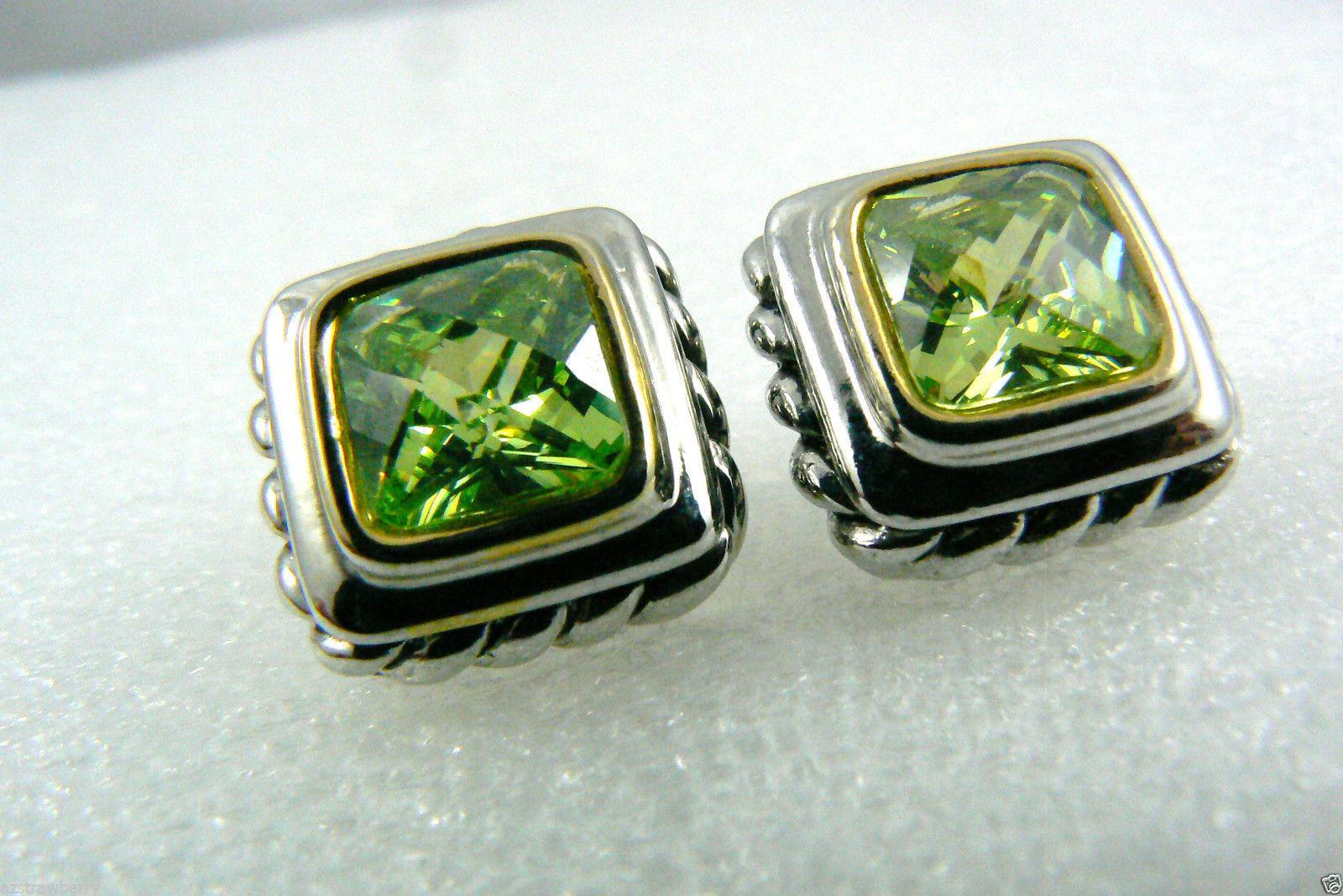 Silver tone Faceted Green Peridot CZ Cubic Zirconia stud earrings $0 sh new image 4