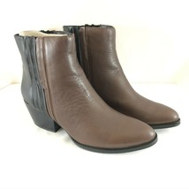 Kenneth Cole Womens Ankle Boots Slip On Leather Block Heel Brown Black Size 8 - $38.69