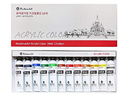 Montmar Art Acrylic Paint Painting 12 Colors Tubes Set 20ml