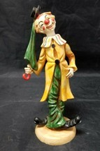"Vintage Circus Clown Figurine w Green Umbrella & Pants Italy 7.75"" Resin... - $14.50"