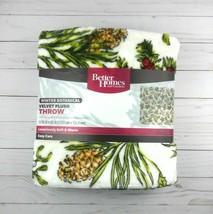 Better Homes Velvet Plush Throw Blanket 50 x 60 Winter Botanical Pine Cones - $26.77 CAD